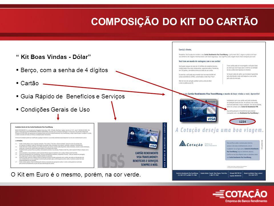 Kit Boas Vindas - Dólar  Berço, com a senha de 4 dígitos  Cartão  Guia Rápido de Benefícios e Serviços  Condições Gerais de Uso O Kit em Euro é o mesmo, porém, na cor verde.