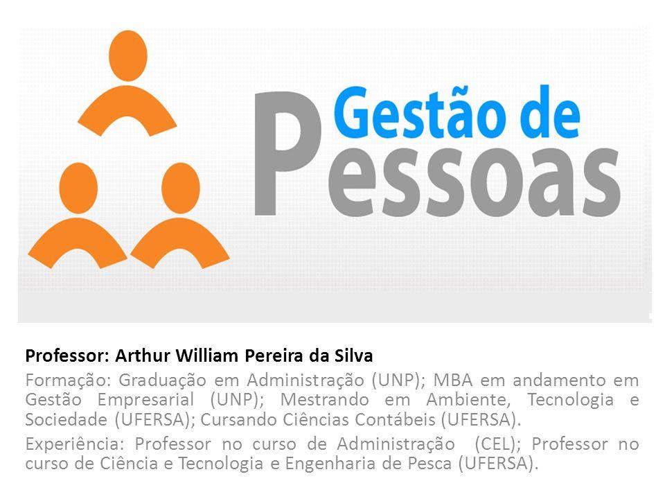 Professor: Arthur William Pereira da Silva Formação: Graduação em Administração (UNP); MBA em andamento em Gestão Empresarial (UNP); Mestrando em Ambi