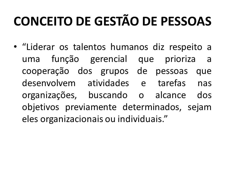 """CONCEITO DE GESTÃO DE PESSOAS • """"Liderar os talentos humanos diz respeito a uma função gerencial que prioriza a cooperação dos grupos de pessoas que d"""