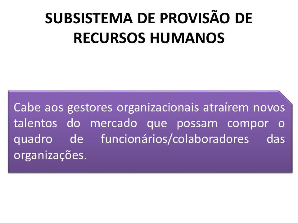 SUBSISTEMA DE PROVISÃO DE RECURSOS HUMANOS Cabe aos gestores organizacionais atraírem novos talentos do mercado que possam compor o quadro de funcioná