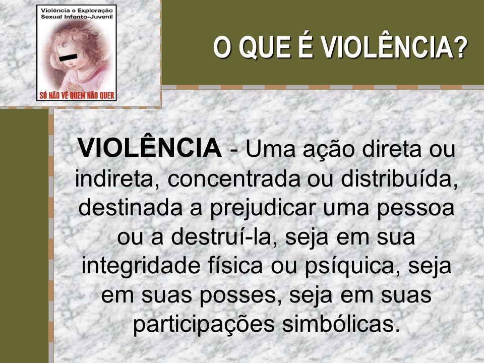 O QUE É VIOLÊNCIA? VIOLÊNCIA - Uma ação direta ou indireta, concentrada ou distribuída, destinada a prejudicar uma pessoa ou a destruí-la, seja em sua