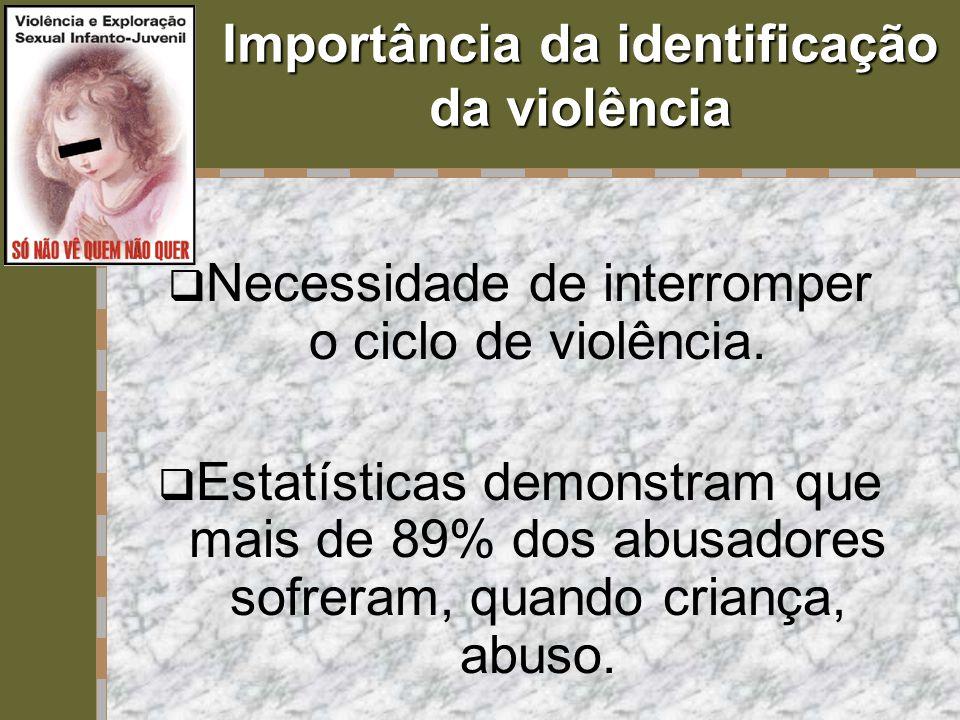 Importância da identificação da violência  Necessidade de interromper o ciclo de violência.  Estatísticas demonstram que mais de 89% dos abusadores