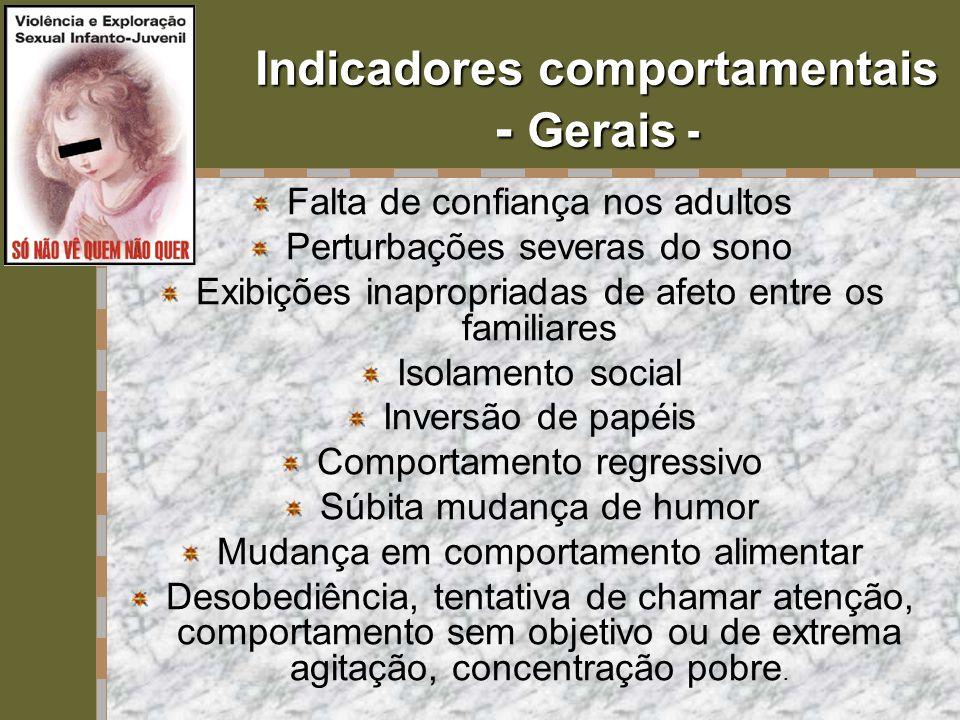 Indicadores comportamentais - Gerais - Falta de confiança nos adultos Perturbações severas do sono Exibições inapropriadas de afeto entre os familiare