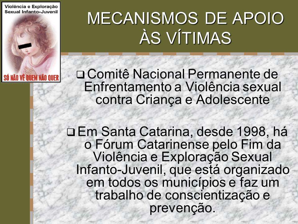 MECANISMOS DE APOIO ÀS VÍTIMAS  Comitê Nacional Permanente de Enfrentamento a Violência sexual contra Criança e Adolescente  Em Santa Catarina, desd