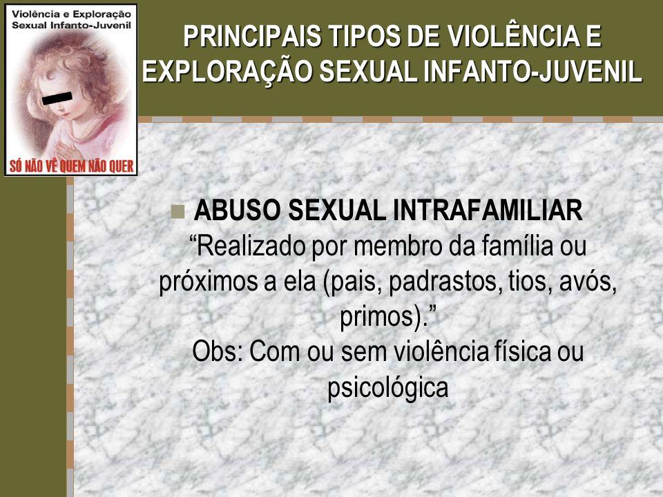 """PRINCIPAIS TIPOS DE VIOLÊNCIA E EXPLORAÇÃO SEXUAL INFANTO-JUVENIL  ABUSO SEXUAL INTRAFAMILIAR """"Realizado por membro da família ou próximos a ela (pai"""
