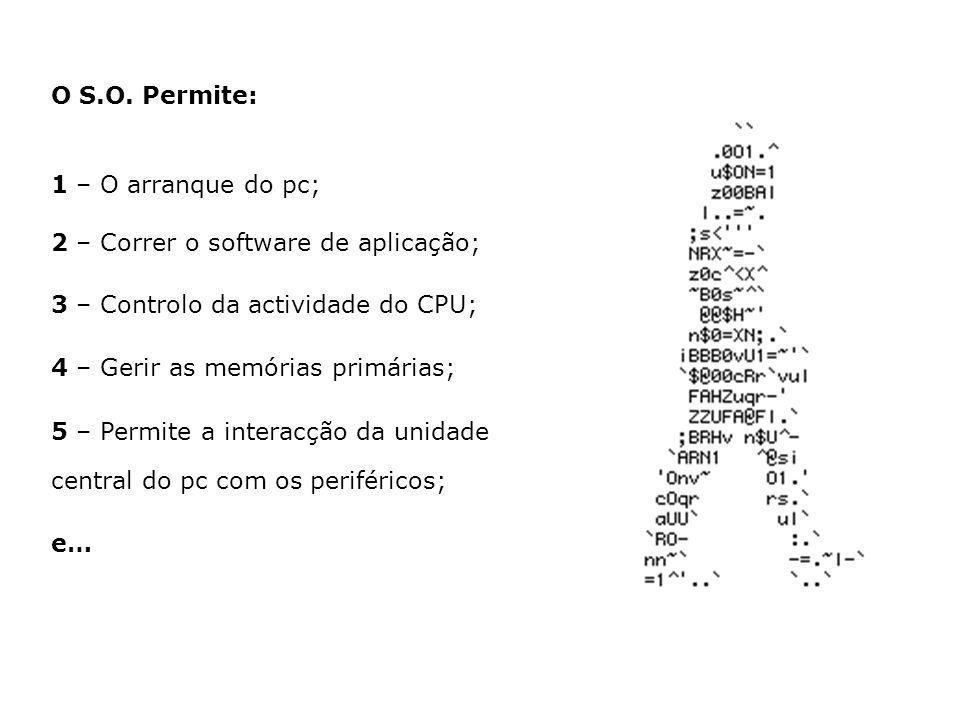 1 – O arranque do pc; 2 – Correr o software de aplicação; 3 – Controlo da actividade do CPU; 4 – Gerir as memórias primárias; 5 – Permite a interacção