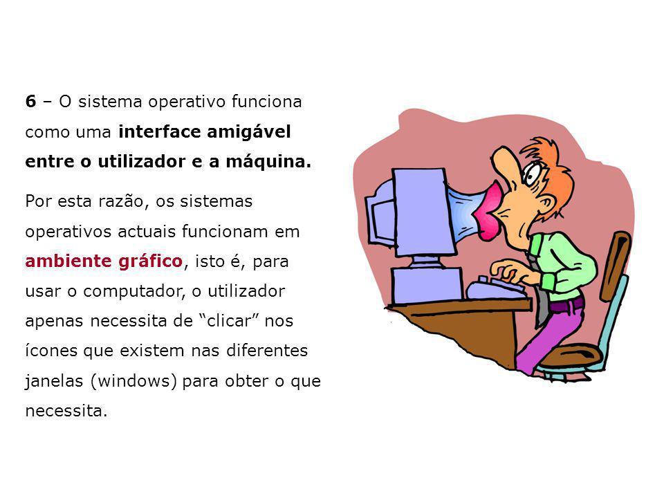 6 – O sistema operativo funciona como uma interface amigável entre o utilizador e a máquina. Por esta razão, os sistemas operativos actuais funcionam