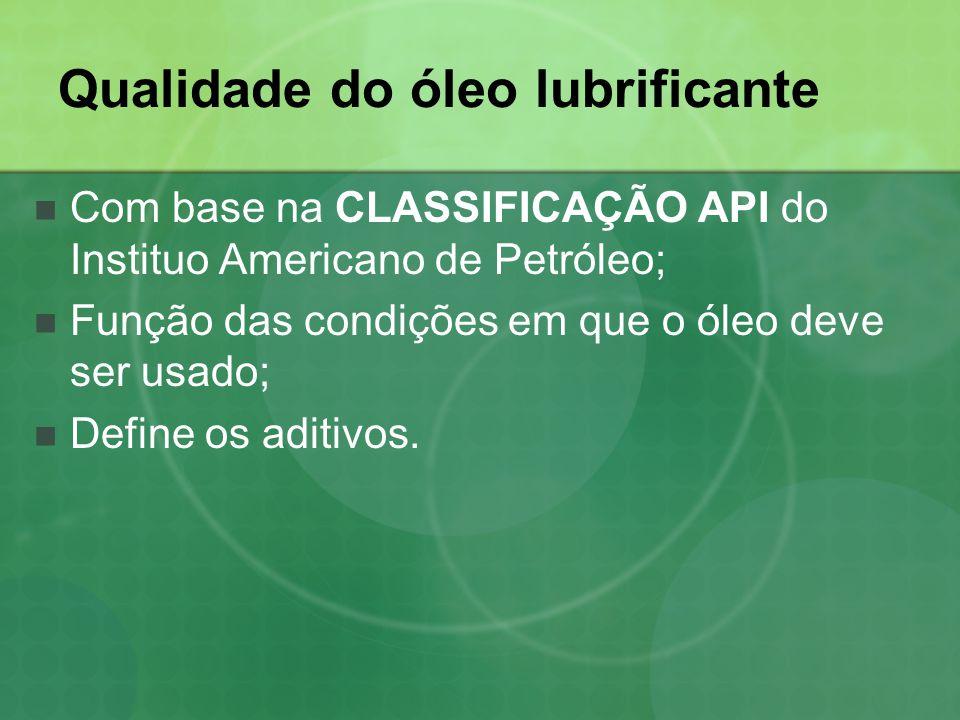 Qualidade do óleo lubrificante  Com base na CLASSIFICAÇÃO API do Instituo Americano de Petróleo;  Função das condições em que o óleo deve ser usado;