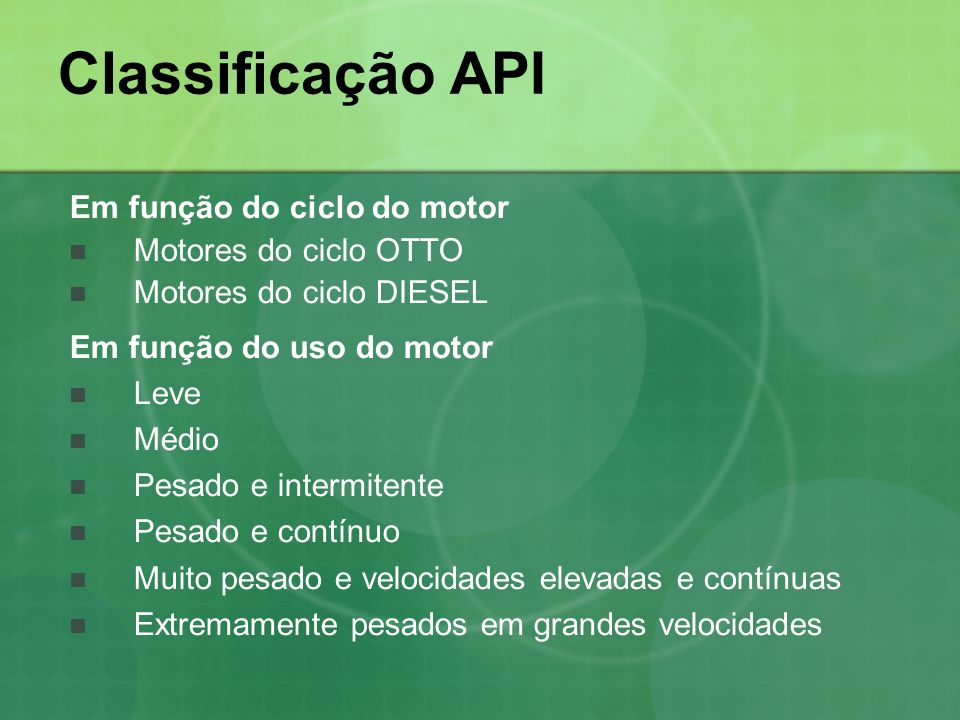 Classificação API Em função do ciclo do motor  Motores do ciclo OTTO  Motores do ciclo DIESEL Em função do uso do motor  Leve  Médio  Pesado e in