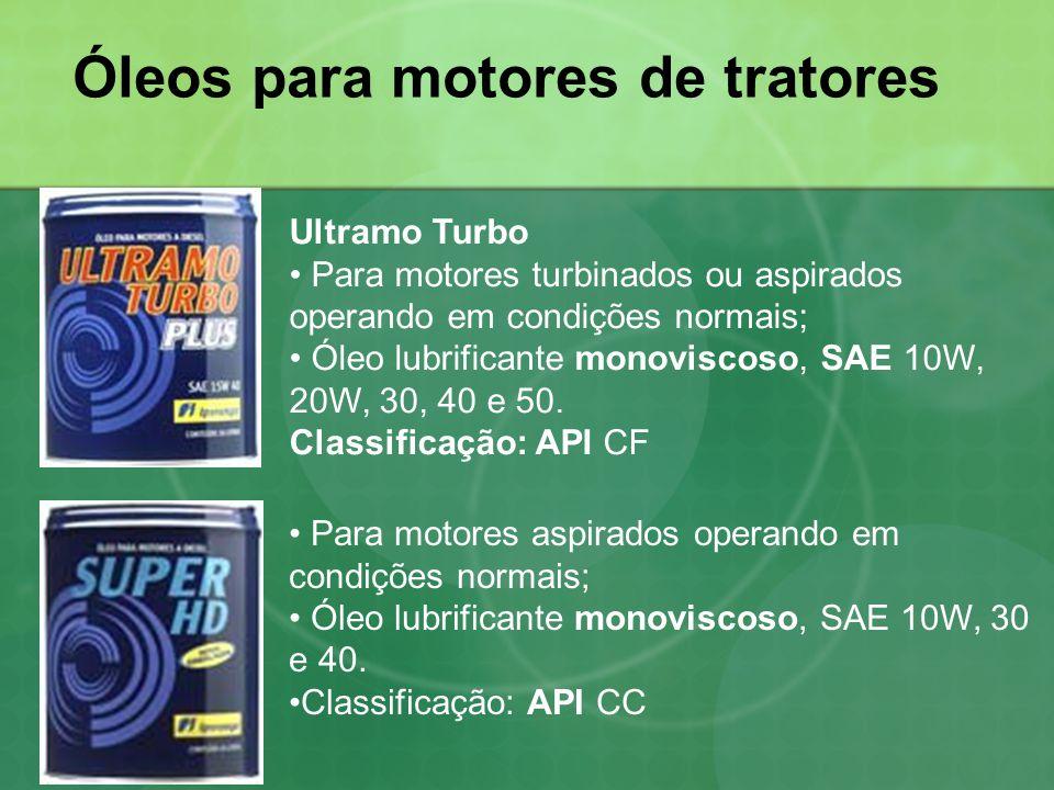 Óleos para motores de tratores Ultramo Turbo • Para motores turbinados ou aspirados operando em condições normais; • Óleo lubrificante monoviscoso, SA
