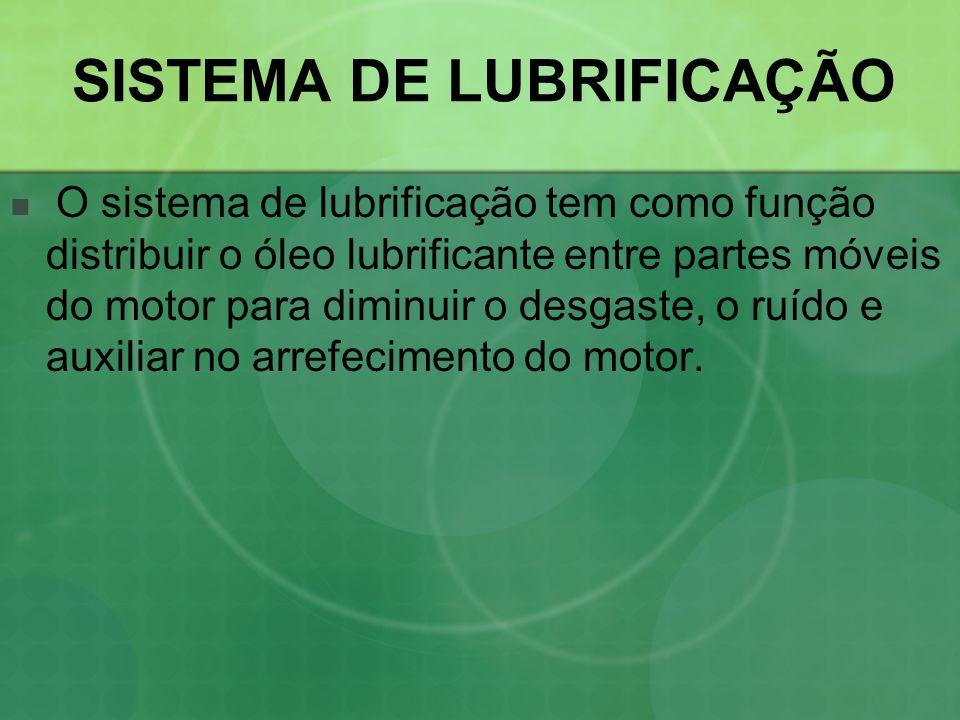 SISTEMA DE LUBRIFICAÇÃO  O sistema de lubrificação tem como função distribuir o óleo lubrificante entre partes móveis do motor para diminuir o desgas