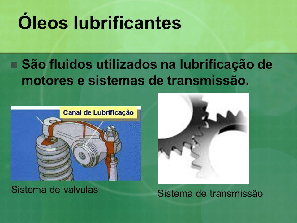 Óleos lubrificantes  São fluidos utilizados na lubrificação de motores e sistemas de transmissão. Sistema de válvulas Sistema de transmissão