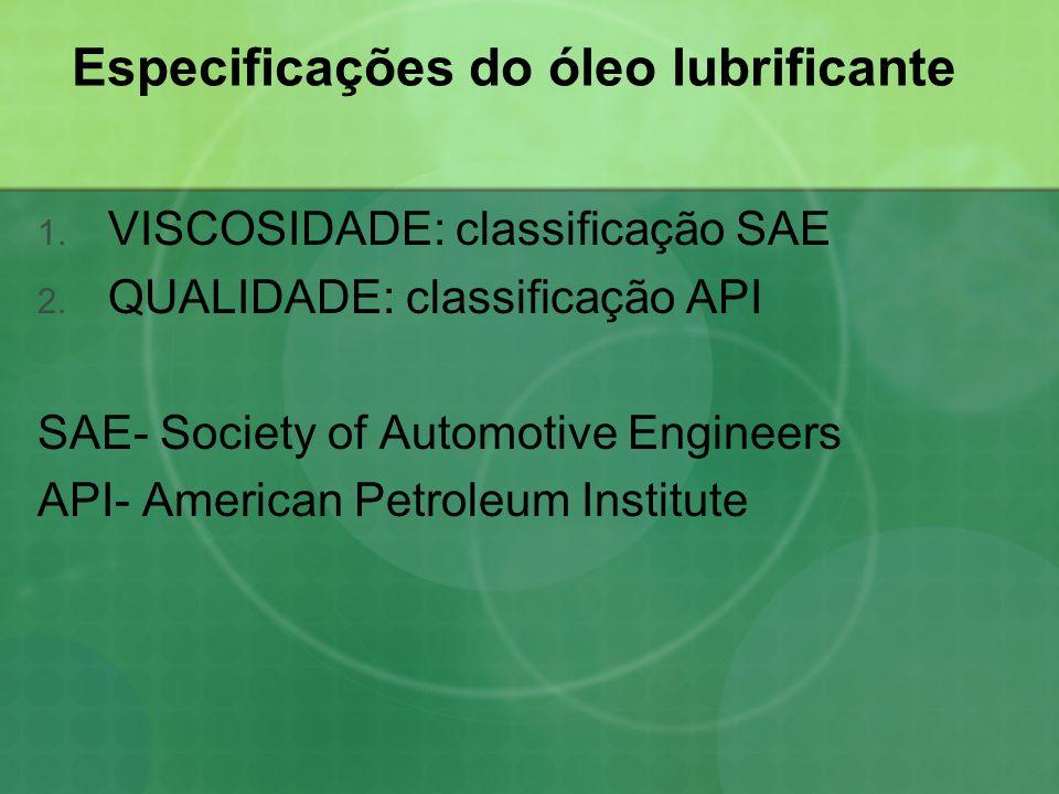 Viscosidade do óleo lubrificante  Usa o padrão da SAE;  É medida em função da resistência ao escoamento do óleo;  É o tempo em segundos, para que uma certa quantidade de óleo, numa dada temperatura, escoe através de um orifício de formato e dimensões padronizados