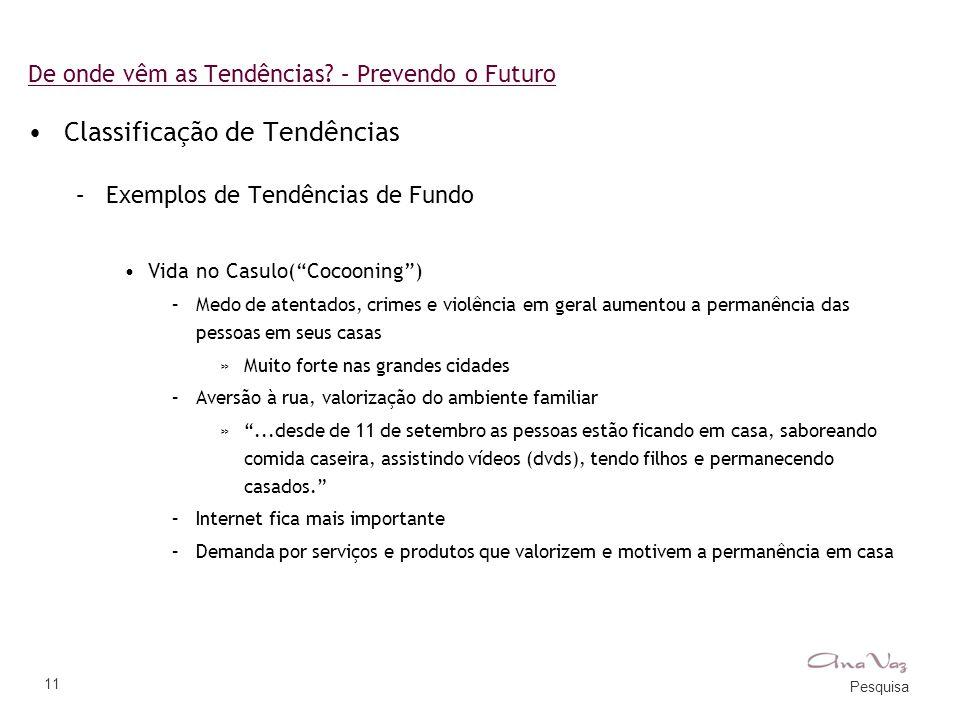 """Pesquisa 11 De onde vêm as Tendências? – Prevendo o Futuro •Classificação de Tendências –Exemplos de Tendências de Fundo •Vida no Casulo(""""Cocooning"""")"""