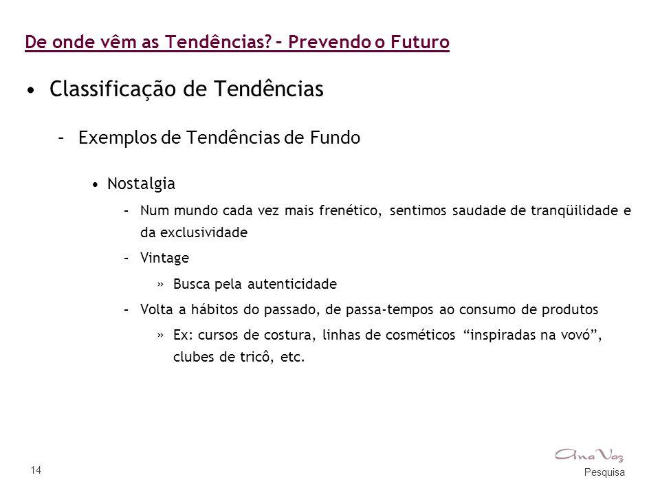 Pesquisa 14 De onde vêm as Tendências? – Prevendo o Futuro •Classificação de Tendências –Exemplos de Tendências de Fundo •Nostalgia –Num mundo cada ve