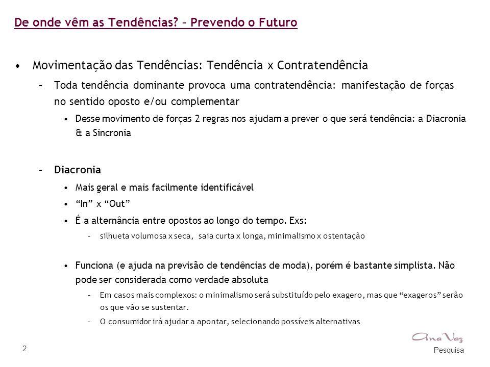 Pesquisa 2 De onde vêm as Tendências? – Prevendo o Futuro •Movimentação das Tendências: Tendência x Contratendência –Toda tendência dominante provoca