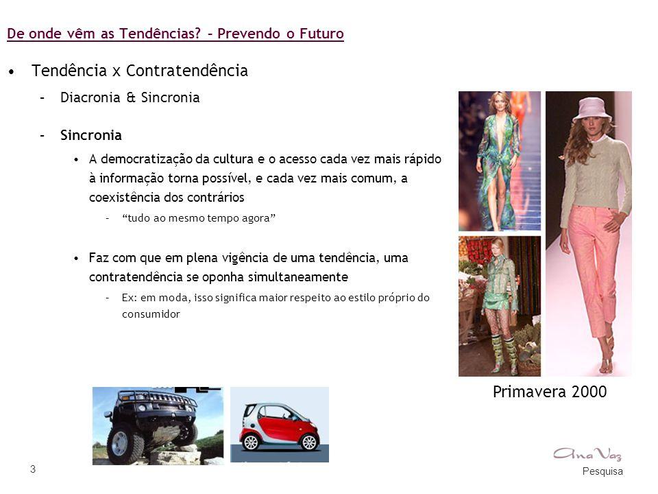 Pesquisa 3 De onde vêm as Tendências? – Prevendo o Futuro •Tendência x Contratendência –Diacronia & Sincronia –Sincronia •A democratização da cultura
