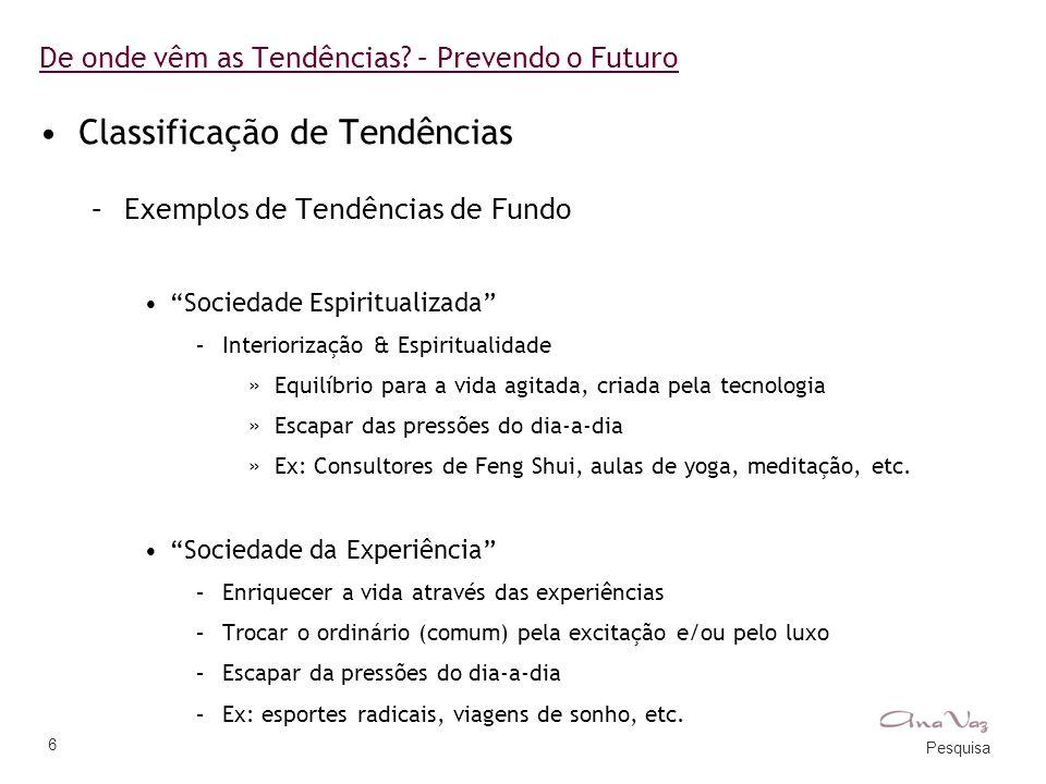 """Pesquisa 6 De onde vêm as Tendências? – Prevendo o Futuro •Classificação de Tendências –Exemplos de Tendências de Fundo •""""Sociedade Espiritualizada"""" –"""