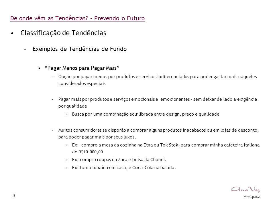 """Pesquisa 9 De onde vêm as Tendências? – Prevendo o Futuro •Classificação de Tendências –Exemplos de Tendências de Fundo •""""Pagar Menos para Pagar Mais"""""""