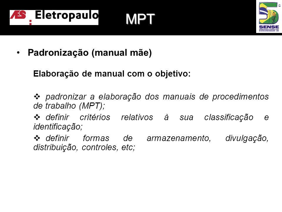 •Padronização (manual mãe) Elaboração de manual com o objetivo:  padronizar a elaboração dos manuais de procedimentos de trabalho (MPT);  definir critérios relativos à sua classificação e identificação;  definir formas de armazenamento, divulgação, distribuição, controles, etc; MPT