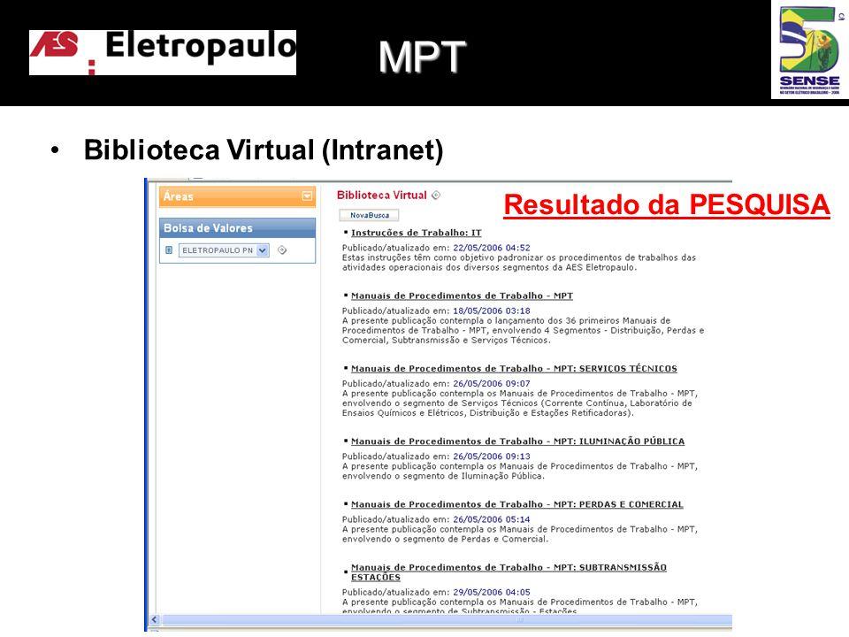 •Biblioteca Virtual (Intranet) Resultado da PESQUISA MPT