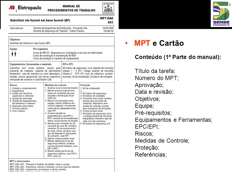 •MPT e Cartão Conteúdo (1ª Parte do manual): Título da tarefa; Número do MPT; Aprovação; Data e revisão; Objetivos; Equipe; Pré-requisitos; Equipamentos e Ferramentas; EPC/EPI; Riscos; Medidas de Controle; Proteção; Referências;
