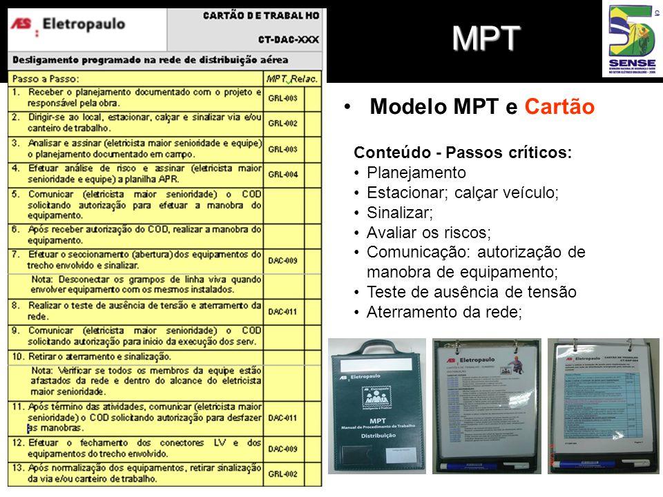 MPT •Modelo MPT e Cartão Conteúdo - Passos críticos: •Planejamento •Estacionar; calçar veículo; •Sinalizar; •Avaliar os riscos; •Comunicação: autorização de manobra de equipamento; •Teste de ausência de tensão •Aterramento da rede;