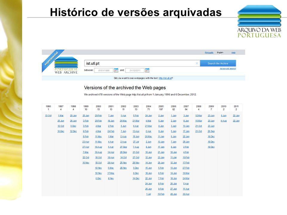 Histórico de versões arquivadas