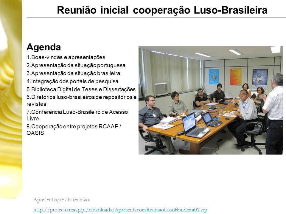 Reunião inicial cooperação Luso-Brasileira Agenda 1.Boas-vindas e apresentações 2.Apresentação da situação portuguesa 3.Apresentação da situação brasi