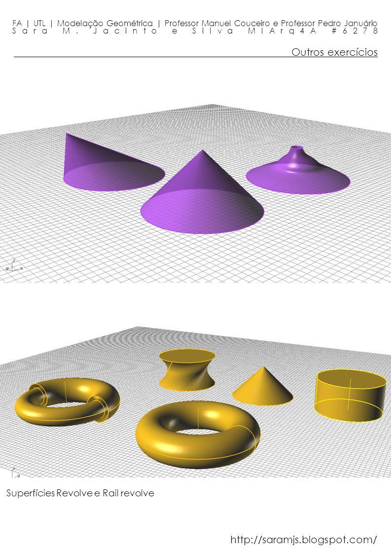 Outros exercícios FA | UTL | Modelação Geométrica | Professor Manuel Couceiro e Professor Pedro Januário Sara M. Jacinto e Silva MIArq4A #6278 Superfí