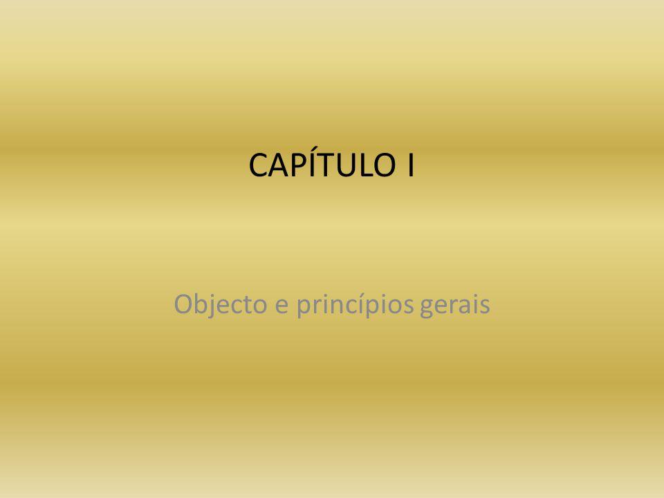 CAPÍTULO I Objecto e princípios gerais