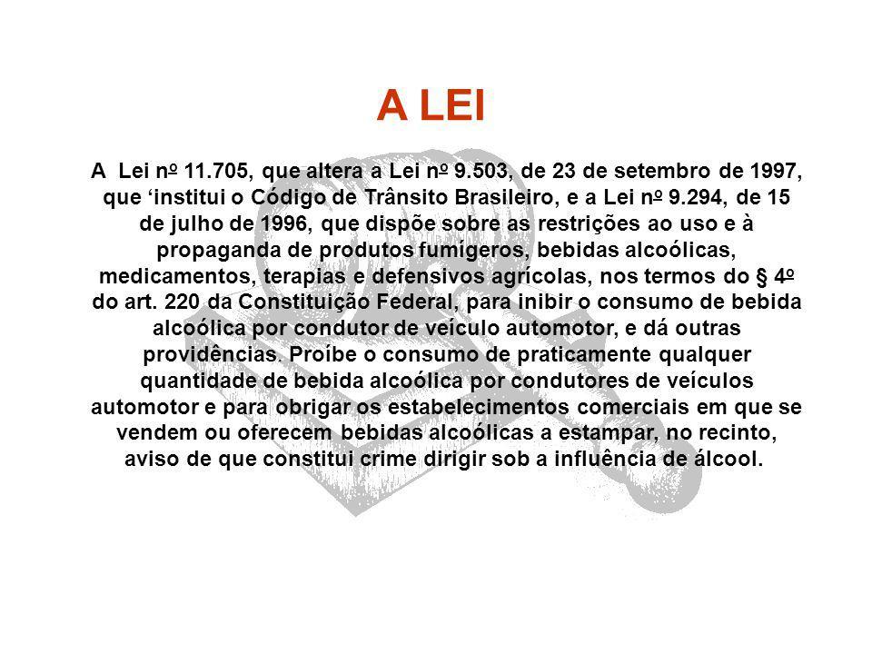A Lei n o 11.705, que altera a Lei n o 9.503, de 23 de setembro de 1997, que 'institui o Código de Trânsito Brasileiro, e a Lei n o 9.294, de 15 de ju