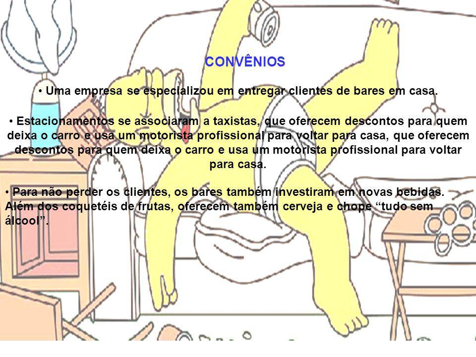 CONVÊNIOS • Uma empresa se especializou em entregar clientes de bares em casa. • Estacionamentos se associaram a taxistas, que oferecem descontos para