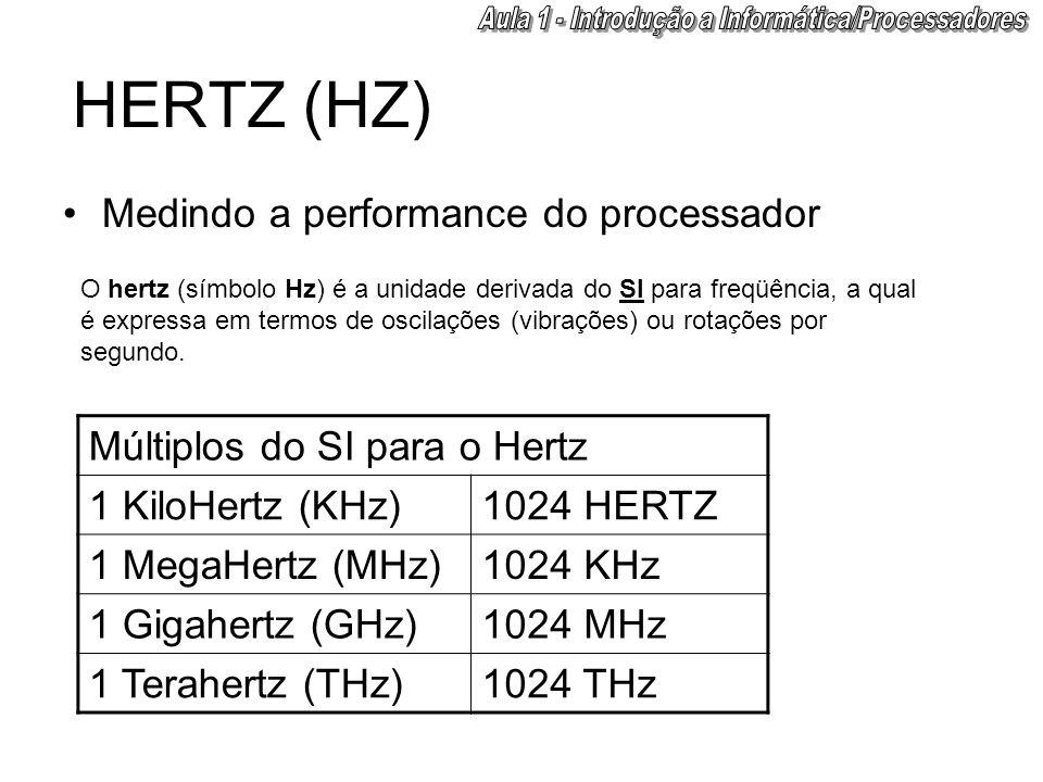 HERTZ (HZ) •Medindo a performance do processador O hertz (símbolo Hz) é a unidade derivada do SI para freqüência, a qual é expressa em termos de oscil