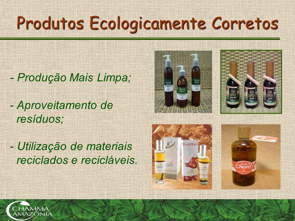 Produtos Ecologicamente Corretos - Produção Mais Limpa; - Aproveitamento de resíduos; - Utilização de materiais reciclados e recicláveis.