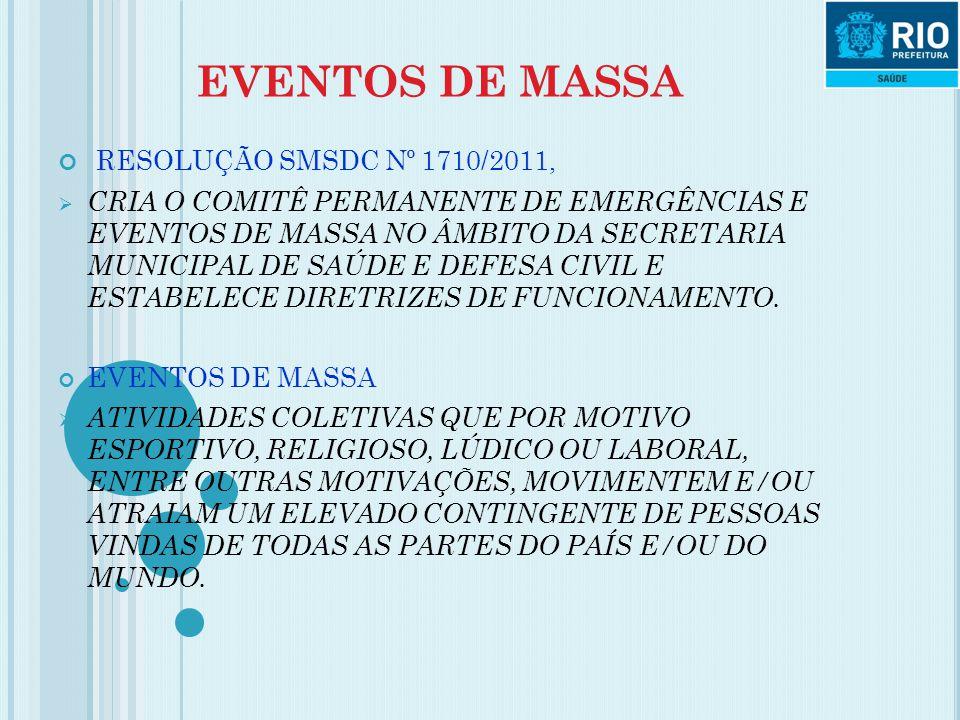 EVENTOS DE MASSA RESOLUÇÃO SMSDC Nº 1710/2011,  CRIA O COMITÊ PERMANENTE DE EMERGÊNCIAS E EVENTOS DE MASSA NO ÂMBITO DA SECRETARIA MUNICIPAL DE SAÚDE