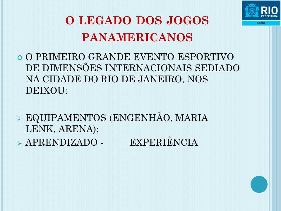 O LEGADO DOS JOGOS PANAMERICANOS O PRIMEIRO GRANDE EVENTO ESPORTIVO DE DIMENSÕES INTERNACIONAIS SEDIADO NA CIDADE DO RIO DE JANEIRO, NOS DEIXOU:  EQU