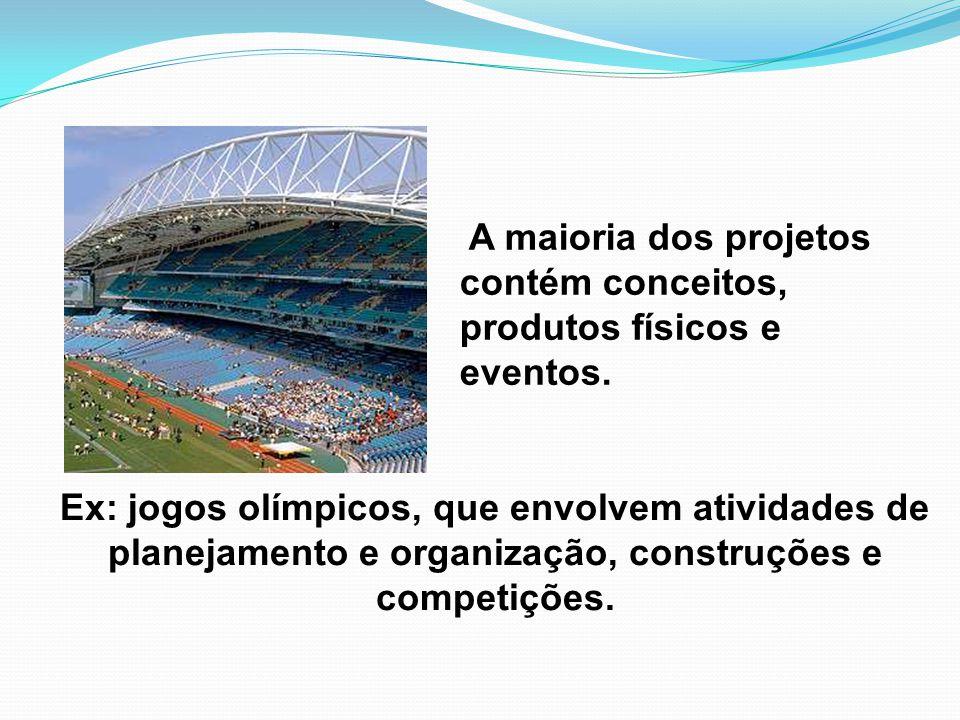 Ex: jogos olímpicos, que envolvem atividades de planejamento e organização, construções e competições. A maioria dos projetos contém conceitos, produt