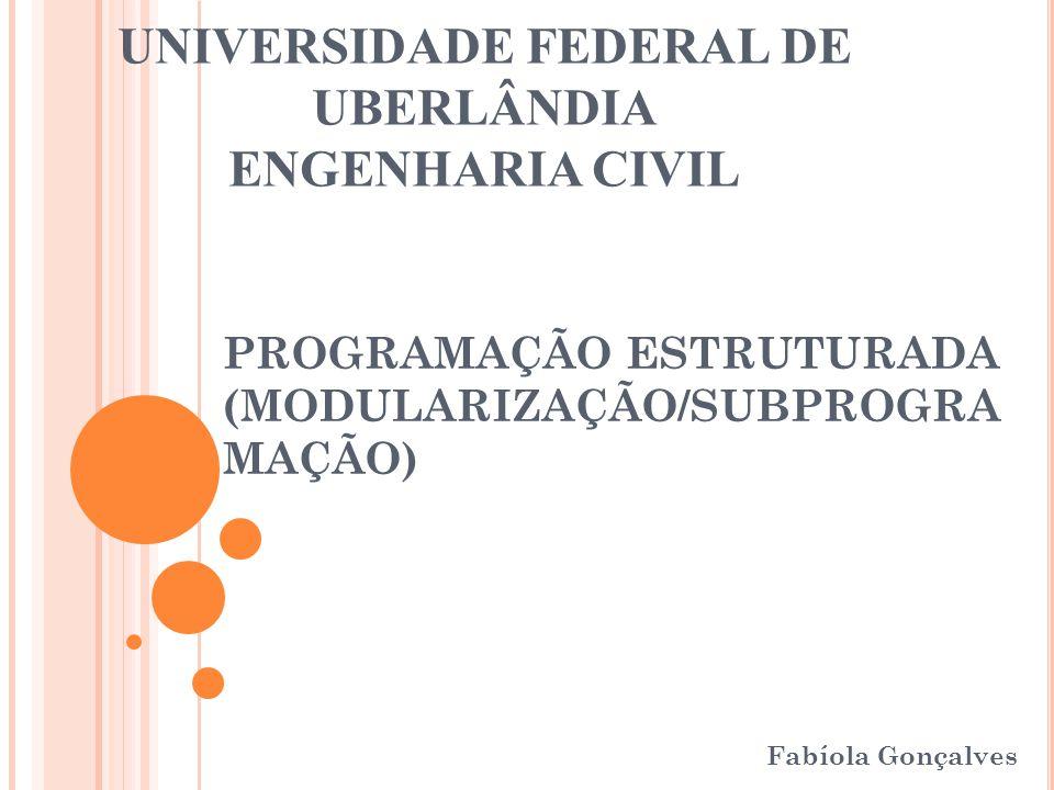 PROGRAMAÇÃO ESTRUTURADA (MODULARIZAÇÃO/SUBPROGRA MAÇÃO) Fabíola Gonçalves UNIVERSIDADE FEDERAL DE UBERLÂNDIA ENGENHARIA CIVIL
