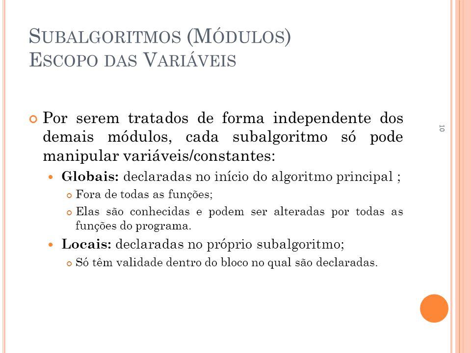 S UBALGORITMOS (M ÓDULOS ) E SCOPO DAS V ARIÁVEIS Por serem tratados de forma independente dos demais módulos, cada subalgoritmo só pode manipular variáveis/constantes:  Globais: declaradas no início do algoritmo principal ; Fora de todas as funções; Elas são conhecidas e podem ser alteradas por todas as funções do programa.