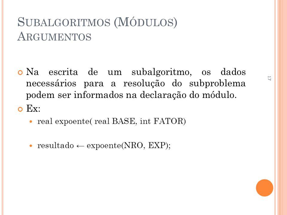 S UBALGORITMOS (M ÓDULOS ) A RGUMENTOS Na escrita de um subalgoritmo, os dados necessários para a resolução do subproblema podem ser informados na declaração do módulo.