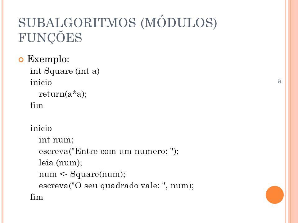 SUBALGORITMOS (MÓDULOS) FUNÇÕES Exemplo: int Square (int a) inicio return(a*a); fim inicio int num; escreva( Entre com um numero: ); leia (num); num <- Square(num); escreva( O seu quadrado vale: , num); fim 20