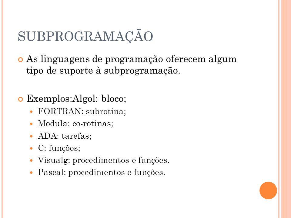 SUBPROGRAMAÇÃO As linguagens de programação oferecem algum tipo de suporte à subprogramação.