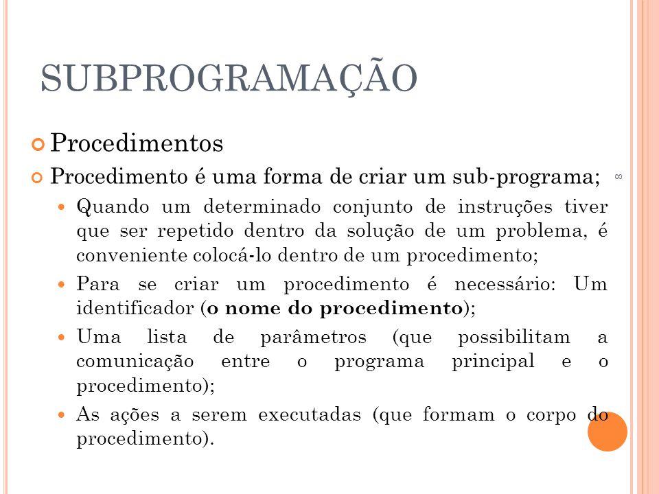 SUBPROGRAMAÇÃO Procedimentos Procedimento é uma forma de criar um sub-programa;  Quando um determinado conjunto de instruções tiver que ser repetido dentro da solução de um problema, é conveniente colocá-lo dentro de um procedimento;  Para se criar um procedimento é necessário: Um identificador ( o nome do procedimento );  Uma lista de parâmetros (que possibilitam a comunicação entre o programa principal e o procedimento);  As ações a serem executadas (que formam o corpo do procedimento).
