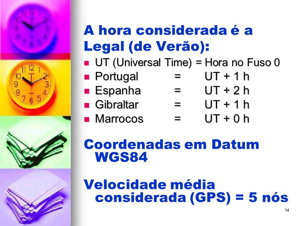 14 A hora considerada é a Legal (de Verão):  UT (Universal Time) = Hora no Fuso 0  Portugal= UT + 1 h  Espanha= UT + 2 h  Gibraltar= UT + 1 h  Ma