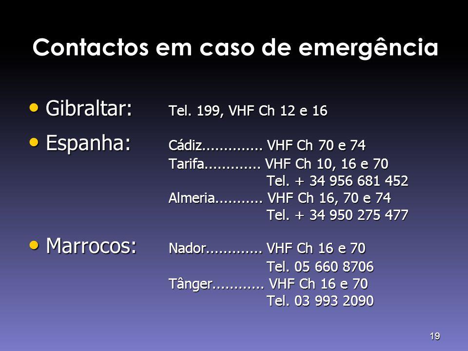 19 Contactos em caso de emergência • Gibraltar: Tel. 199, VHF Ch 12 e 16 • Espanha: Cádiz.............. VHF Ch 70 e 74 Tarifa............. VHF Ch 10,