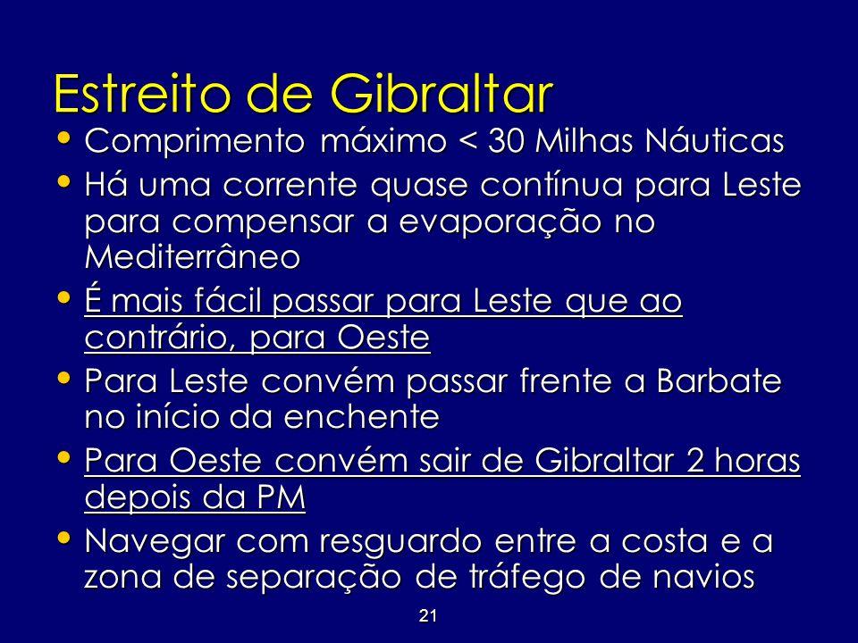 21 Estreito de Gibraltar • Comprimento máximo < 30 Milhas Náuticas • Há uma corrente quase contínua para Leste para compensar a evaporação no Mediterr