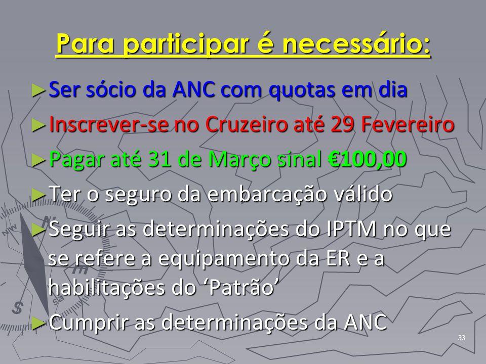 33 Para participar é necessário: ► Ser sócio da ANC com quotas em dia ► Inscrever-se no Cruzeiro até 29 Fevereiro ► Pagar até 31 de Março sinal €100,0