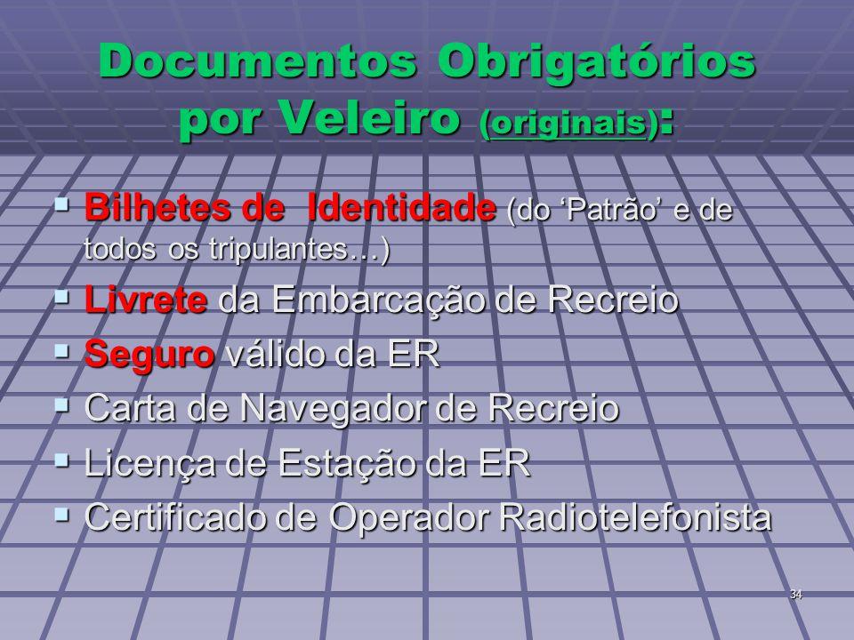 34 Documentos Obrigatórios por Veleiro (originais) :  Bilhetes de Identidade (do 'Patrão' e de todos os tripulantes…)  Livrete da Embarcação de Recr