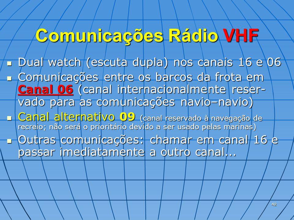 42 Comunicações Rádio VHF  Dual watch (escuta dupla) nos canais 16 e 06  Comunicações entre os barcos da frota em Canal 06 (canal internacionalmente